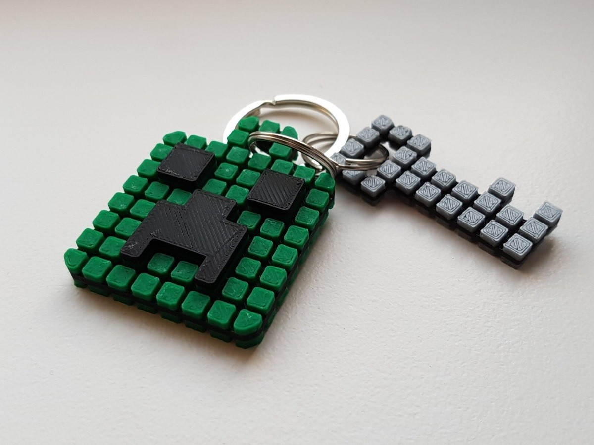 Keychain 1.jpg Download free STL file Minecraft Creeper Keychain (single extruder) • 3D printing object, Bishop