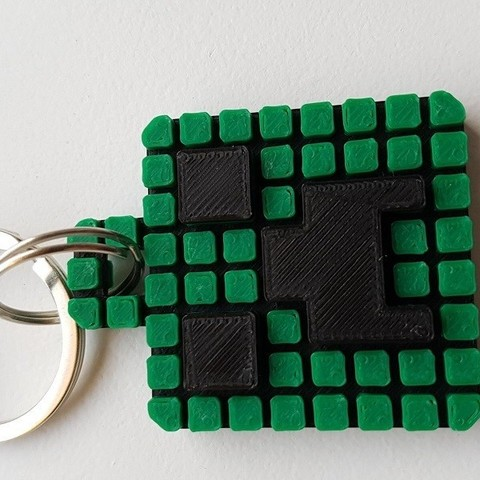 Keychain 6.jpg Download free STL file Minecraft Creeper Keychain (single extruder) • 3D printing object, Bishop