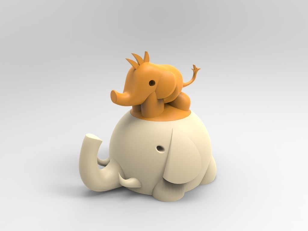 untitled.114.jpg Download free STL file Elephant box child and mother • 3D printing template, BAYA