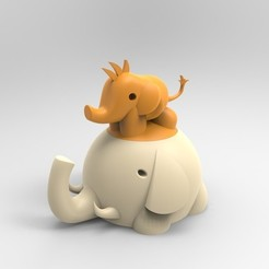 objet 3d gratuit Elephant box child and mother, BAYA