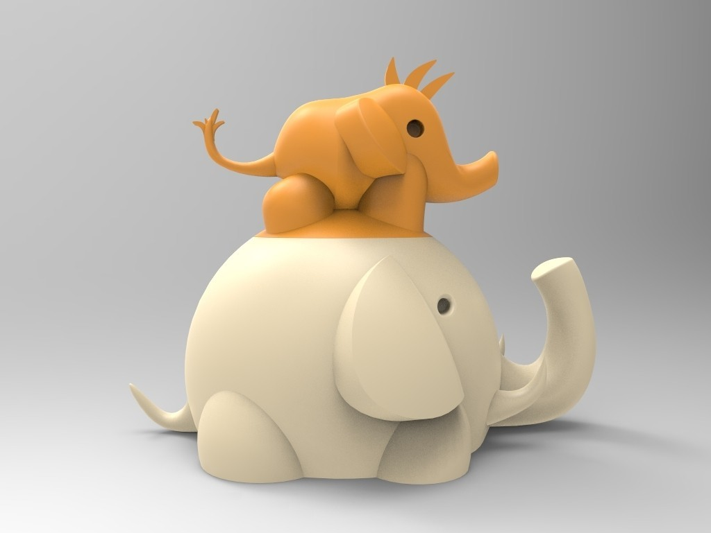 untitled.116.jpg Download free STL file Elephant box child and mother • 3D printing template, BAYA