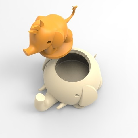 untitled.115.jpg Download free STL file Elephant box child and mother • 3D printing template, BAYA