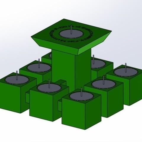 """pos 2.jpg Télécharger fichier STL gratuit Candélabre """"Prometheus"""" Réversible • Modèle imprimable en 3D, memoretirado"""