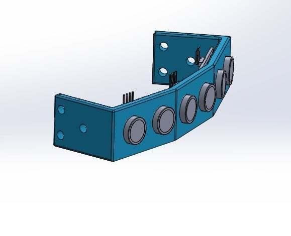Sin_título.jpg Download free STL file Mounting for 3 HC SR04 15° sensors with 90° terminals • 3D printer design, memoretirado