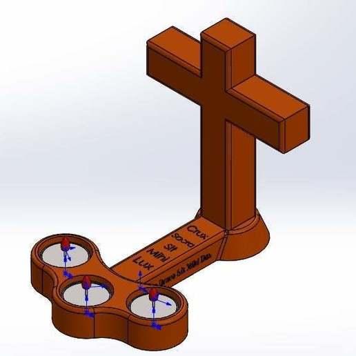 isometrico.jpg Download free STL file Cross candle holder • Object to 3D print, memoretirado