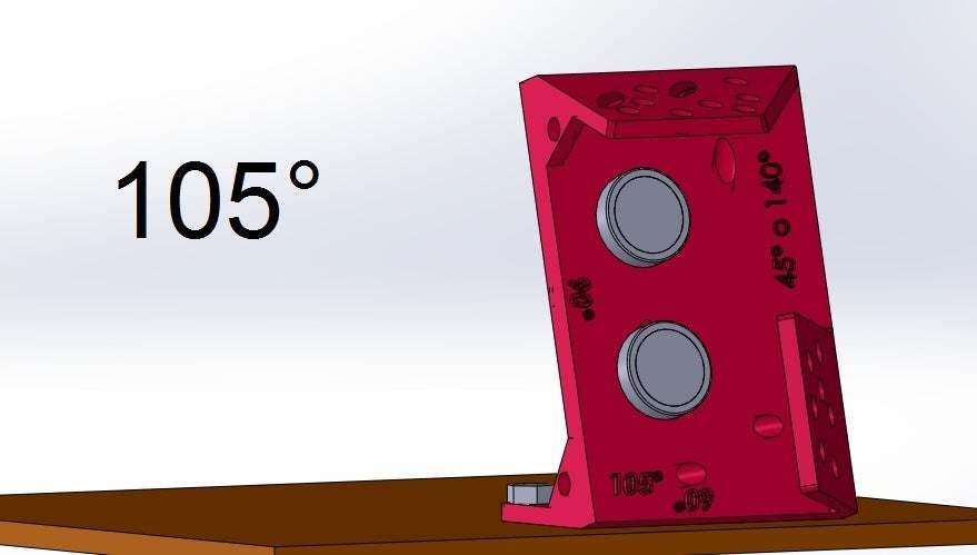 105.jpg Download free STL file Mounting for HC SR04 Multi-Angle (40°,90°,140°,45°,135°,105°,120°, 75° and 60°) • 3D printer object, memoretirado