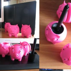 "Download free 3D print files Wacom Intuos Pro stand ""Three piggies"", 3d20"
