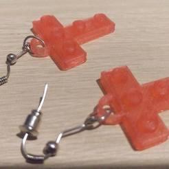 """Lego """"T"""" Earrings 3D model, eMBe85"""