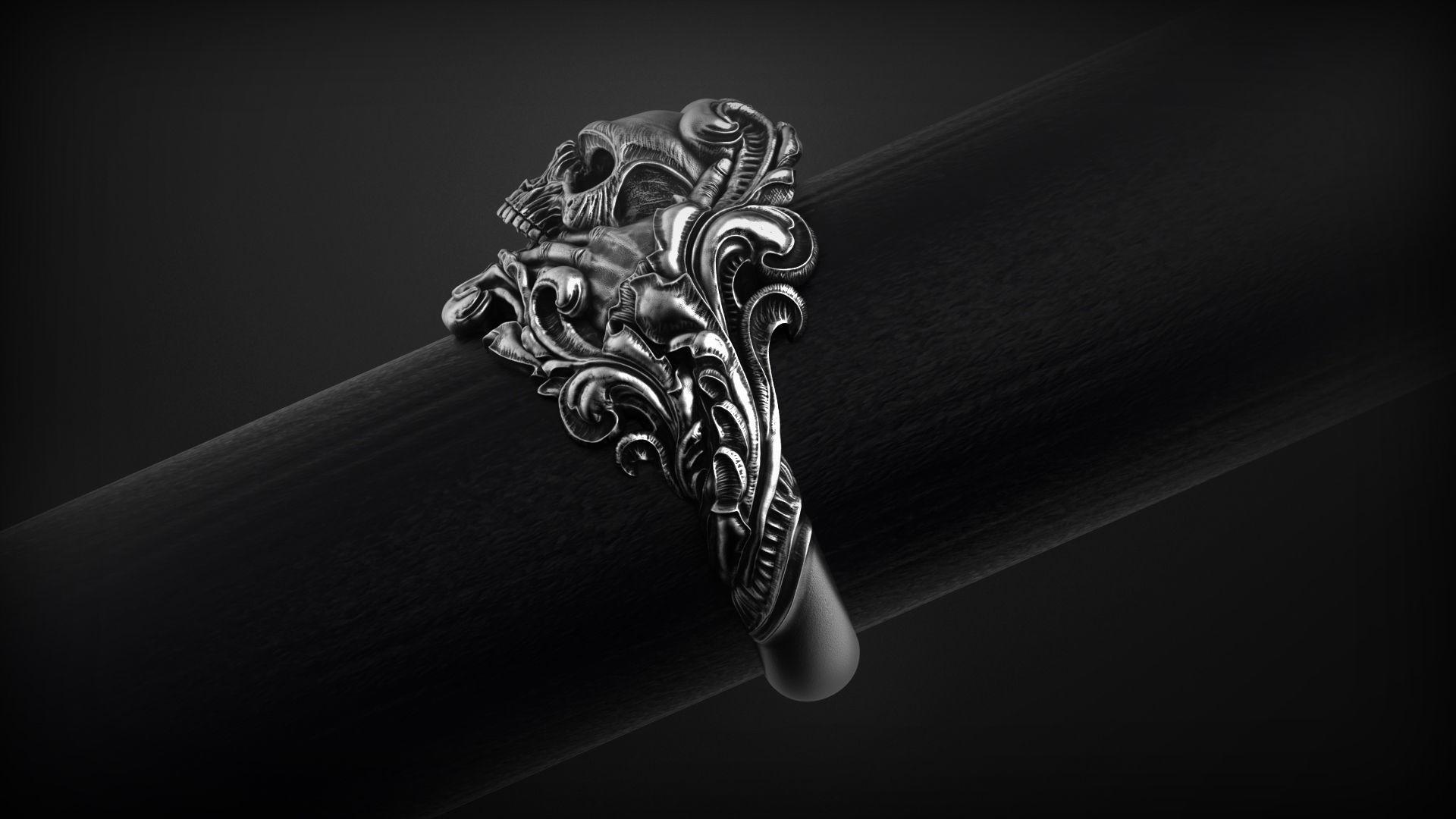 vintage-skull-ring-3d-model-for-3d-printing-3d-model-obj-stl (2).jpg Download OBJ file Vintage Ring • 3D print template, Roman_Kharikov