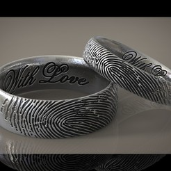 Descargar modelo 3D Fingerprint ring Wedding ring With Love, Roman_Kharikov