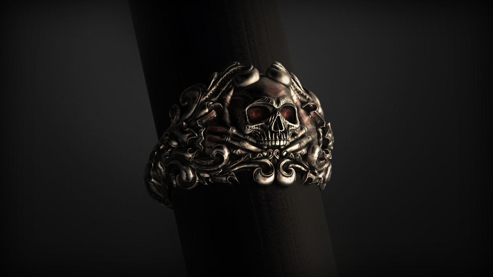 vintage-skull-ring-3d-model-for-3d-printing-3d-model-obj-stl (4).jpg Download OBJ file Vintage Ring • 3D print template, Roman_Kharikov