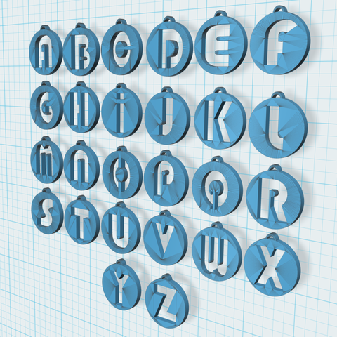 3.PNG Download STL file Alphabet Pendants • 3D printing model, n256
