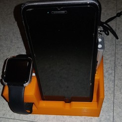 Download free 3D printer files IPhone and Apple Watch charging stand, n256