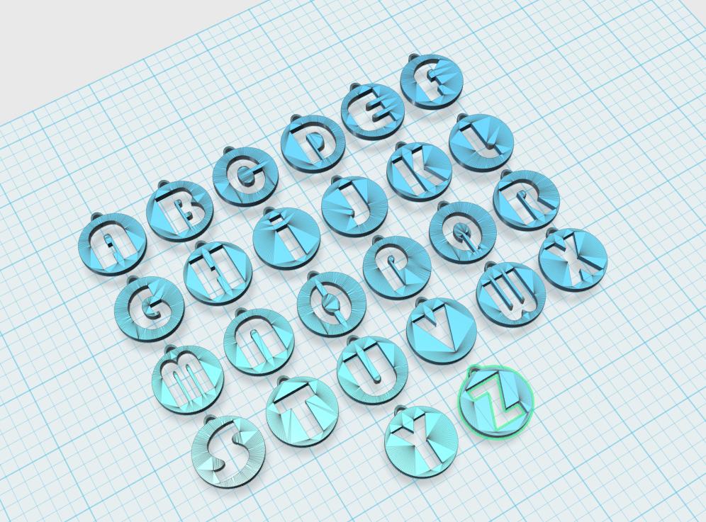 1.PNG Download STL file Alphabet Pendants • 3D printing model, n256
