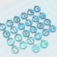 Download free 3D printing designs Alphabets Pendants, n256