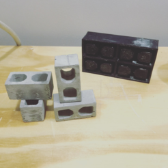 Download free STL file 4 Miniature cinder block mold • 3D printing model, 3Delivery