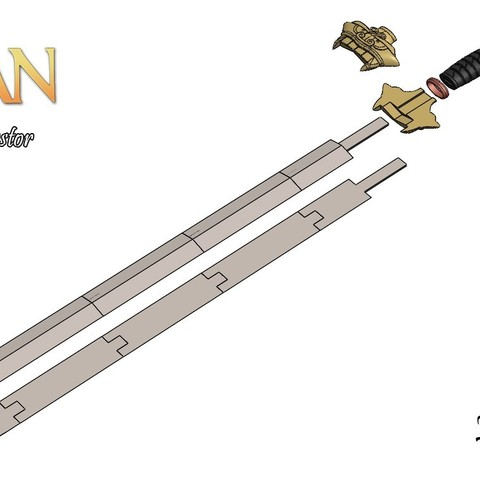 ExplodedView.jpg Download free STL file Mulan's Sword • 3D printing model, Vexelius