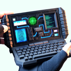 Free 3d printer model Sci-Fi Computer Phone Holder, 3DSage