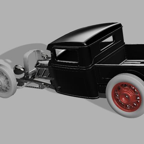 3JSPU v68render.png Download STL file 34' Ford Pickup Hot Rod • 3D printing object, macone1