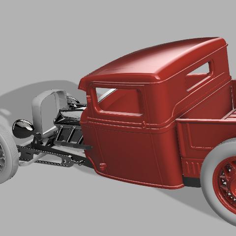 3JSPU v68render3.png Download STL file 34' Ford Pickup Hot Rod • 3D printing object, macone1