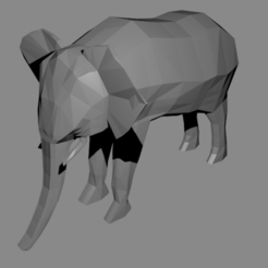 elephant modele 3_4.png Download free STL file Elephant low poly • 3D printer template, Haulier