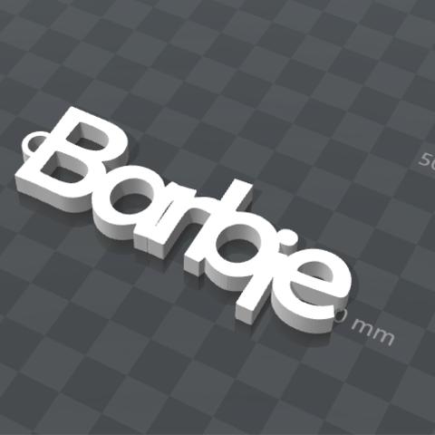 Free 3d print files PERSONALIZABLE KEYCHAIN Barbie, Ibarakel