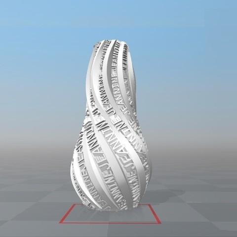 Download STL file IBARAKEL JEANNINE PERSONALIZABLE VASE • 3D print design, Ibarakel