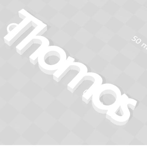 Sans titre.png Télécharger fichier STL gratuit PORTE-CLEF PERSONNALISABLE THOMAS • Objet à imprimer en 3D, Ibarakel