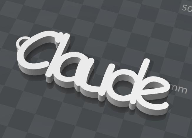 image.png Télécharger fichier STL gratuit PORTE-CLEF PERSONNALISABLE CLAUDE • Modèle pour imprimante 3D, Ibarakel