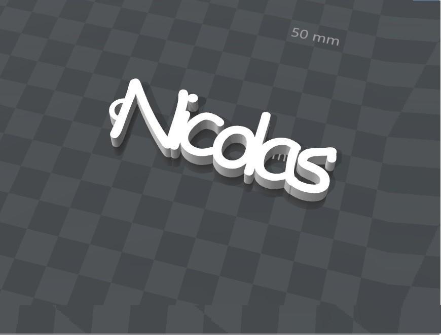image.jpg Télécharger fichier STL gratuit PORTE-CLEF PERSONNALISABLE NICOLAS • Objet pour impression 3D, Ibarakel