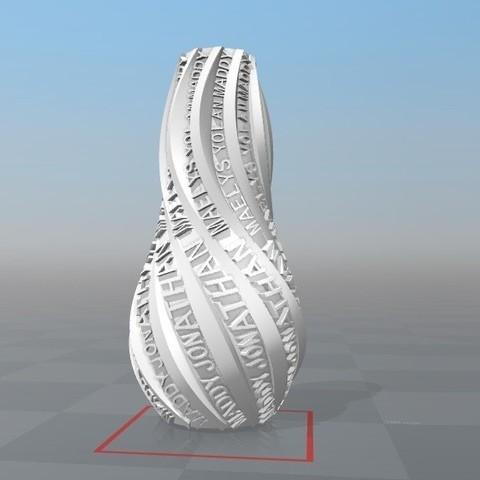 Download STL file IBARAKEL MADDY JONATHAN MAËLYS YOLAN PERSONALIZABLE VASE • 3D print template, Ibarakel