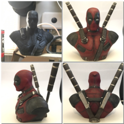 Free 3D printer designs Deadpool Bust HD (With Supports), Geoffro