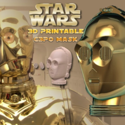Télécharger fichier impression 3D C3P0 masque portable (Hi Res), Geoffro