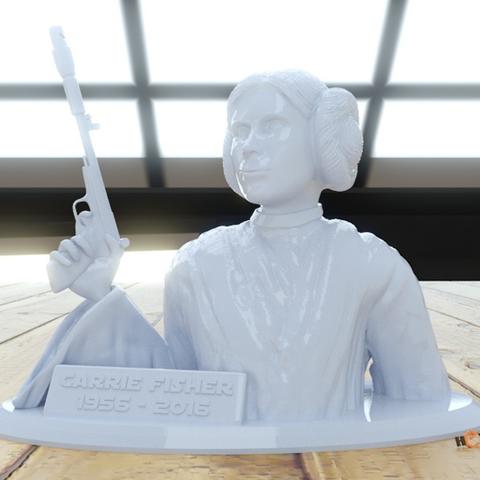 Capture d'écran 2016-12-30 à 15.53.09.png Download free STL file Carrie Fisher Memorial Bust - 1956-2016 • 3D printing design, Geoffro