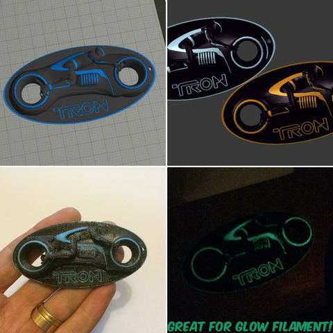 Capture d'écran 2016-12-12 à 22.15.49.png Download free STL file Tron Dual Extrusion Light cycle Keyring • 3D printing design, Geoffro