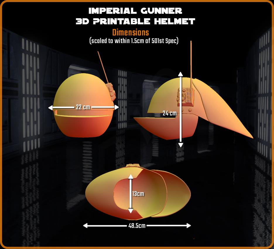 Dimensions.png Download STL file Imperial Gunner 3D Printable Helmet • 3D print design, Geoffro