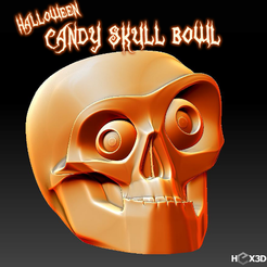 Download free 3D printer designs Halloween Candy Skull Bowl, Geoffro