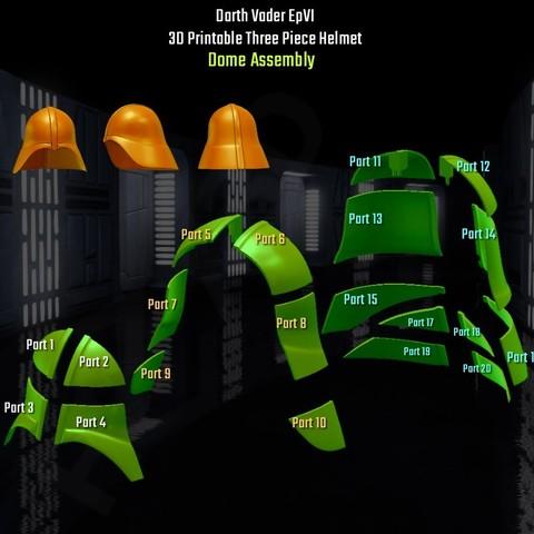 dome__Assembly.jpg Descargar archivo STL Darth Vader - Casco de Revelación 3D para Imprimir • Diseño para imprimir en 3D, Geoffro