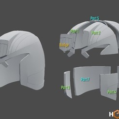 Download 3D printer templates Judge Dredd Helmet, Geoffro