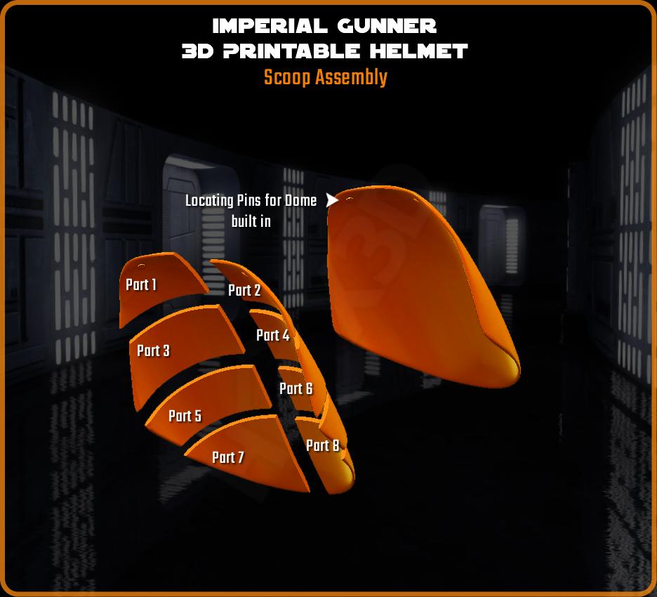 scoop_assembly.png Download STL file Imperial Gunner 3D Printable Helmet • 3D print design, Geoffro