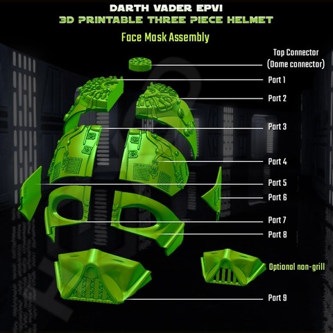 face__Assembly.jpg Descargar archivo STL Darth Vader - Casco de Revelación 3D para Imprimir • Diseño para imprimir en 3D, Geoffro
