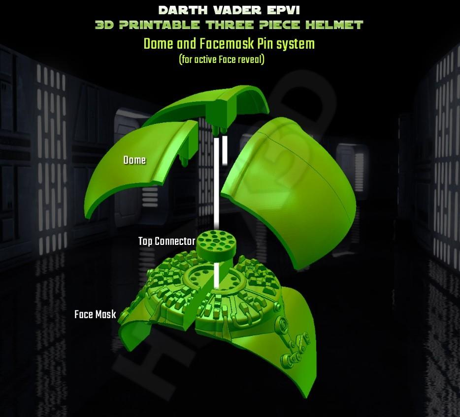 TopConnector_Assembly.jpg Descargar archivo STL Darth Vader - Casco de Revelación 3D para Imprimir • Diseño para imprimir en 3D, Geoffro