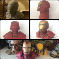 Free 3D printer model Iron Man Bust (Repaired, flattened), Geoffro