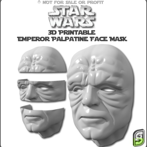 Free STL files Emperor Palpatine Face Mask, Geoffro