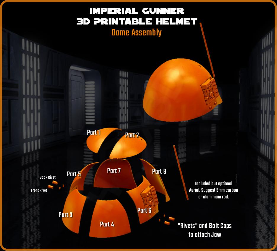 Dome_Assembly.png Download STL file Imperial Gunner 3D Printable Helmet • 3D print design, Geoffro