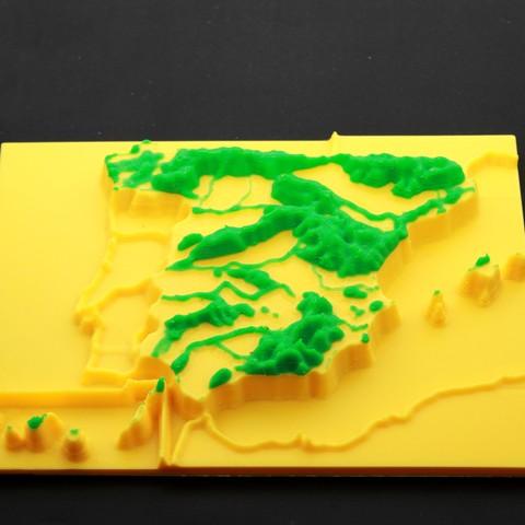 Free 3D printer designs Iberian mountain range, mountain chain spain, FORMAT3D