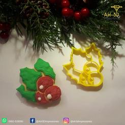 Muerdago.png Download STL file Christmas Mistletoe Cookie Cutter • 3D printer model, andih256