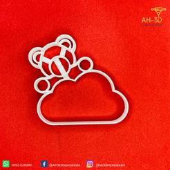 4.png Télécharger fichier STL Ours en peluche sur un nuage Découpeur de biscuits • Modèle pour imprimante 3D, andih256