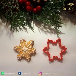 Copo de nieve 3.jpeg Download STL file Snowflake cookie cutter • Object to 3D print, andih256