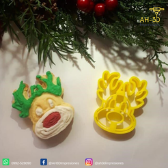 Reno 3.png Download STL file Reindeer Cookie Cutter • 3D printer template, andih256